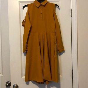 Dresses & Skirts - Mustard Cold Shoulder Dress